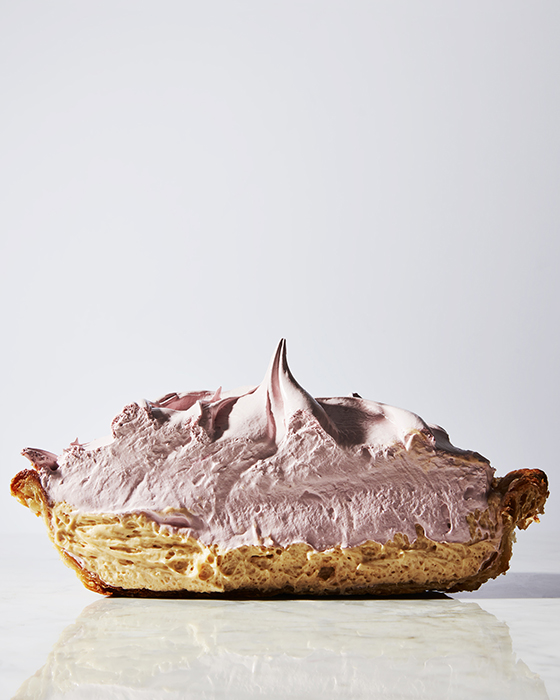 Mark Weinberg photographs a cream filled fluffy looking pie for Erin McDowells book on pie