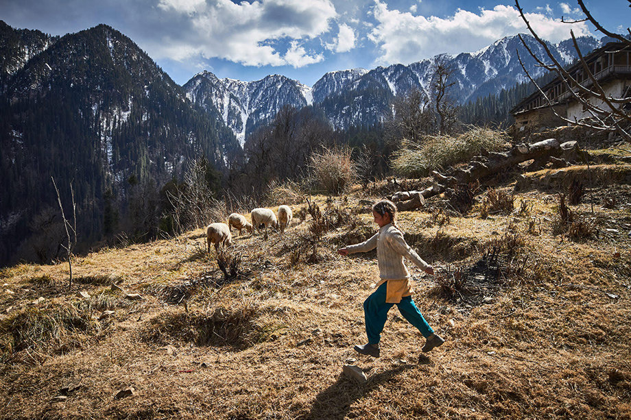 Mark Katzman's Real and Raw Travels through India for FES - Young girl skipping in the Himalayas.