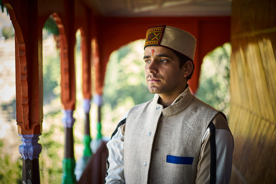 Mark Katzman's Real and Raw Travels through India for FES - Portrait of a hindu man in a temple.