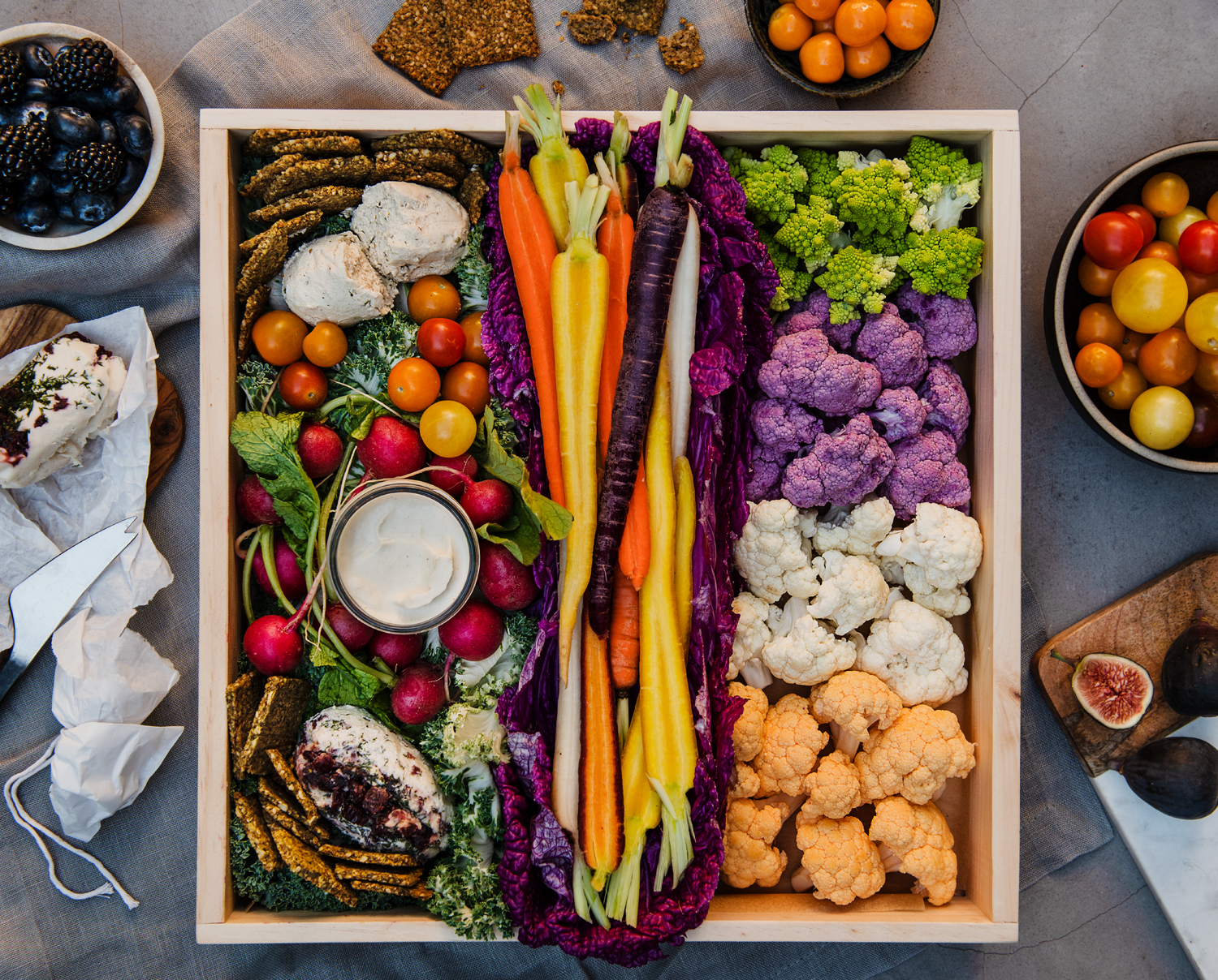 Vegan Crudités Board shot by Michael Marquand for Modern Charcuterie.