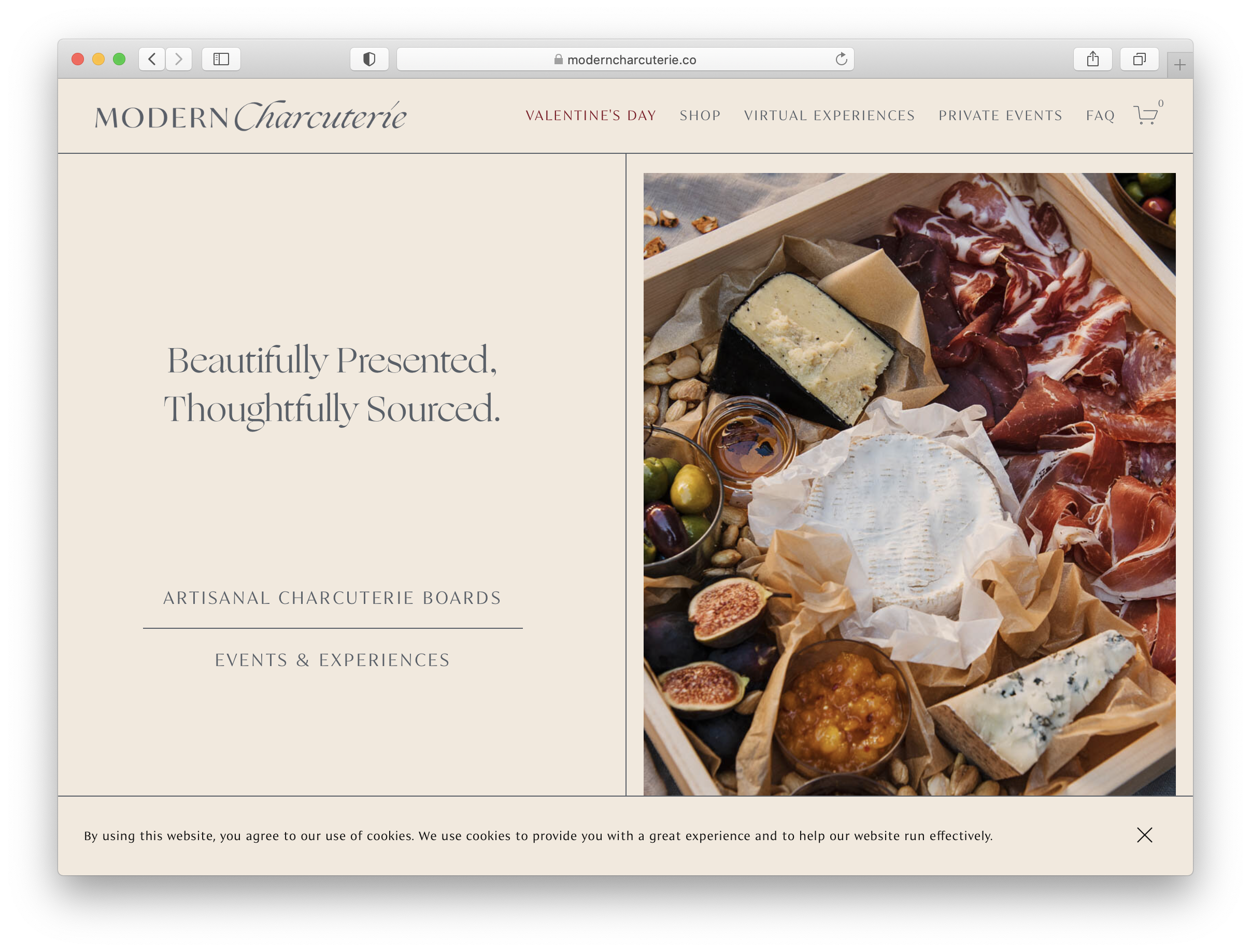 Home Page on Modern Charcuterie's Website Featuring Michael Marquand's Product Photography.
