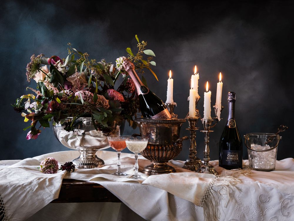 Renaissance-inspired tablescape promoting Valentine's Day offerings.
