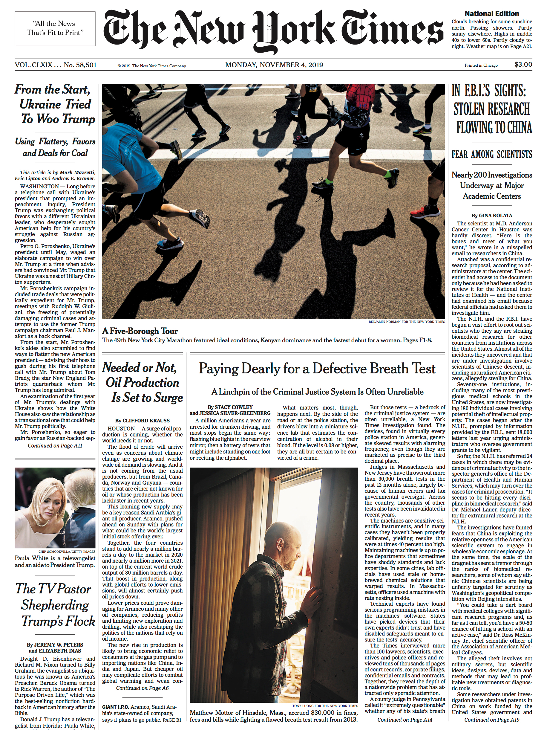 Ben Norman's New York marathon shot of runners in motion on the front page of The New York Times
