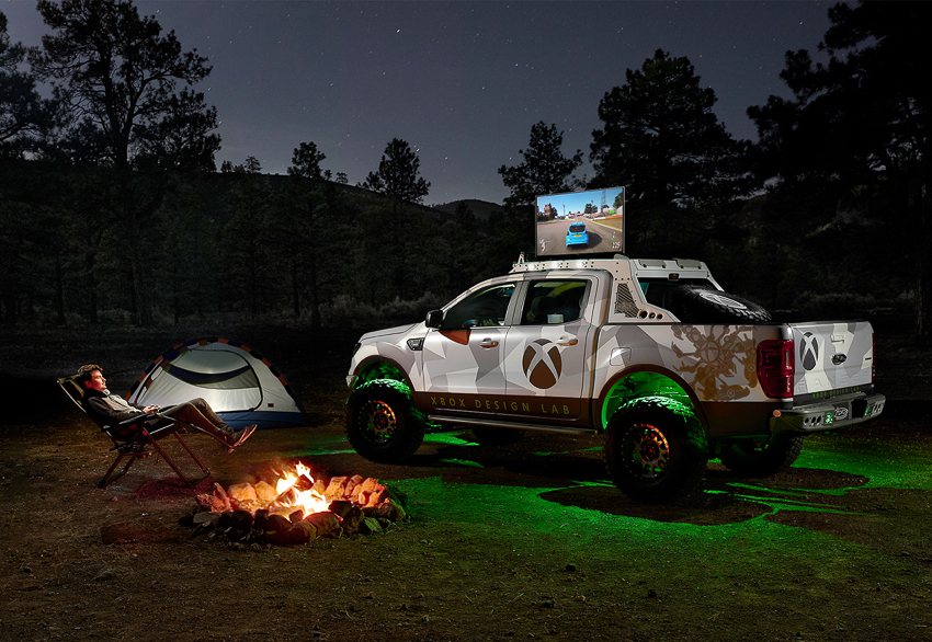 Nighttime campsite with Ford Truck in an XBox skin shot by Nick Nacca