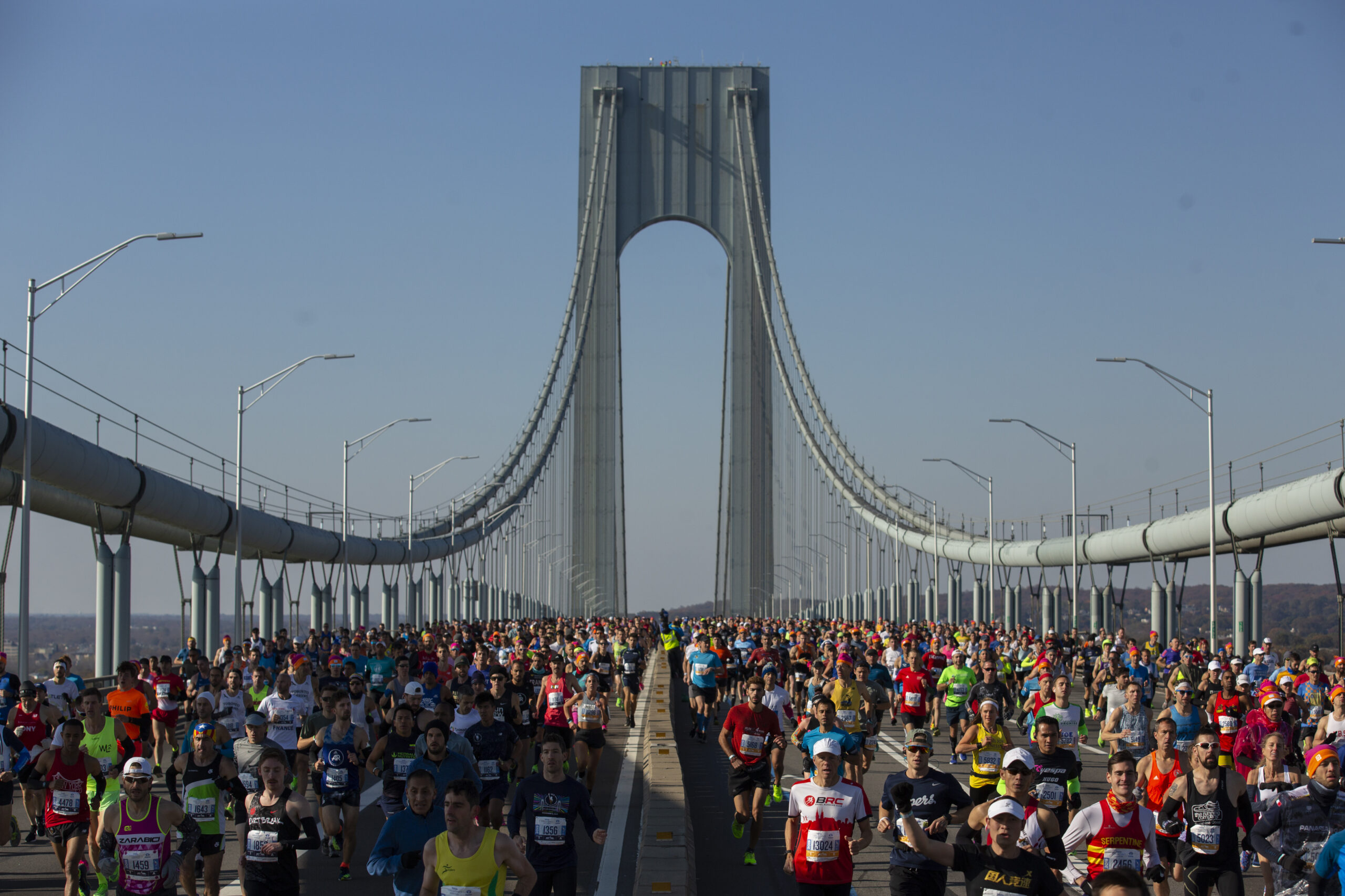 Ben Norman's photo from the end of the Verrazano Bridge shows it crowded with marathon runners