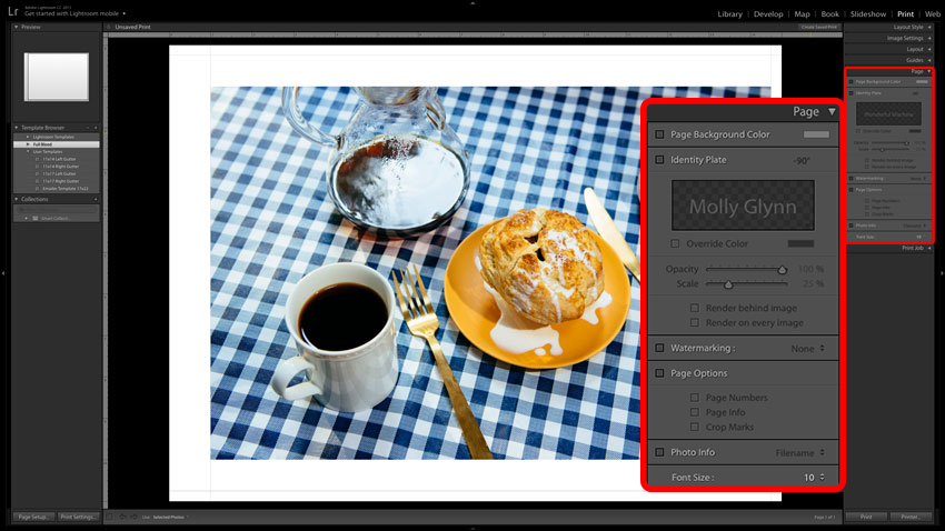 Adobe Lightroom screenshot of Print Page settings