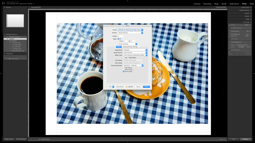 Adobe Lightroom screenshot of Print Settings