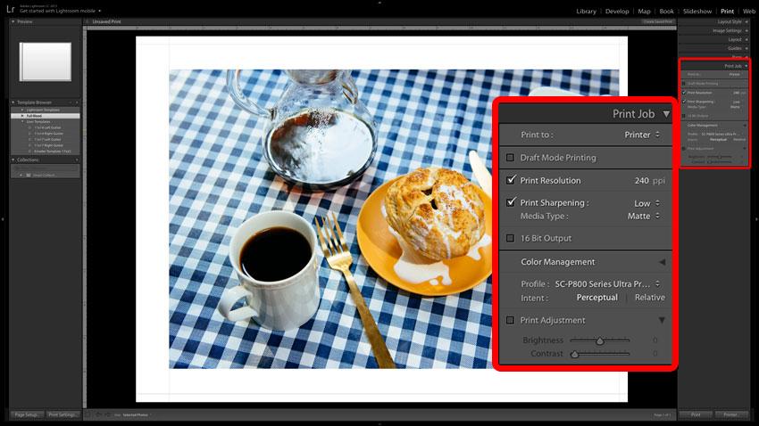 Adobe Lightroom screenshot of Print Job settings