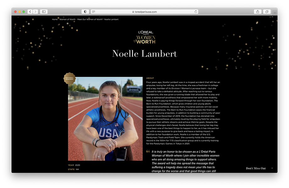 Ronnie Orlando's photo of Noelle Lambert on L'Oreal's website.