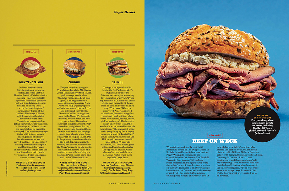 Scott Suchman photographs four sandwiches for American Way