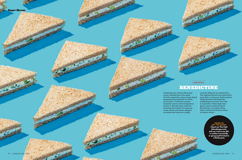 Scott Suchman photographs triangle sandwiches on blue backdrop in American Way