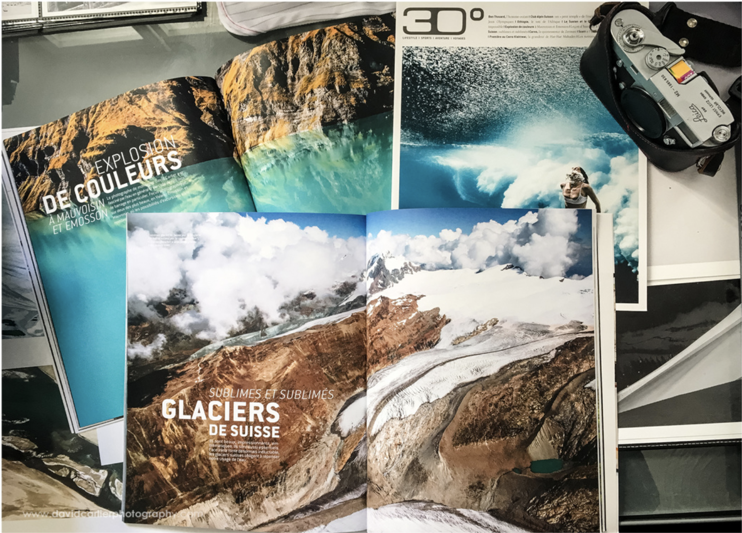 Copies of Swiss 30° that feature David's photos.