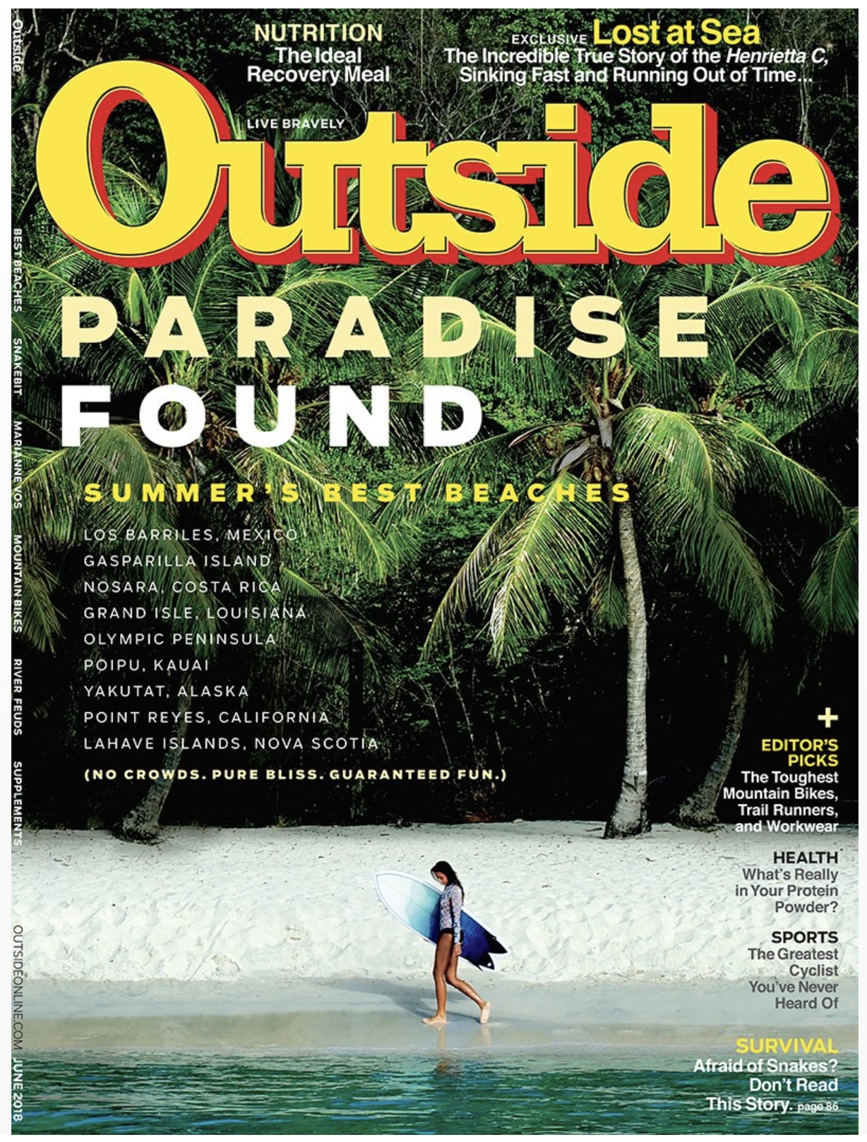 The cover of June 2018's edition of Outside Magazine.