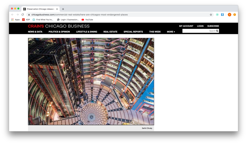 Serhii Chrucky's aerial view of the open interior of the Thompson Center for Preservation Chicago in an online tear from Crain's