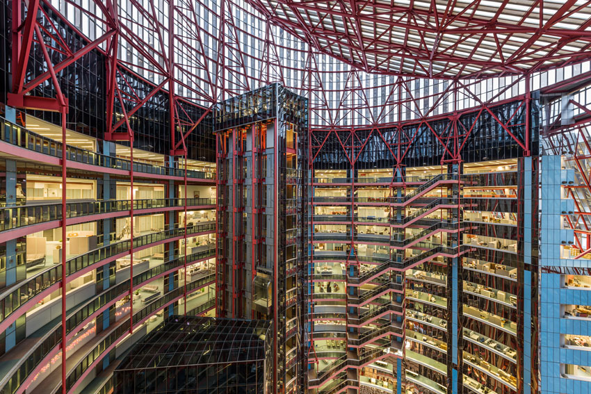 Serhii Chrucky shows the rotunda of the Thompson Center for Preservation Chicago sliced at an angle