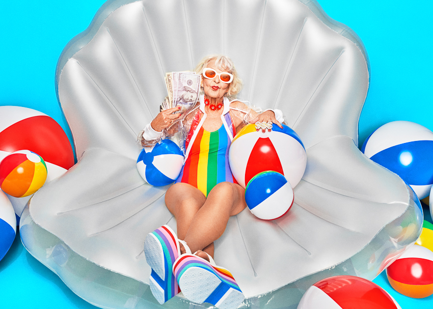 Baddie Winkle for Stash Investing campaign photographed by Clay Cook
