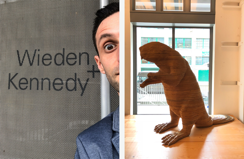Diptych of Craig Offerman at Portland Ad Agency Wieden + Kennedy and the W+K beaver sculpture.