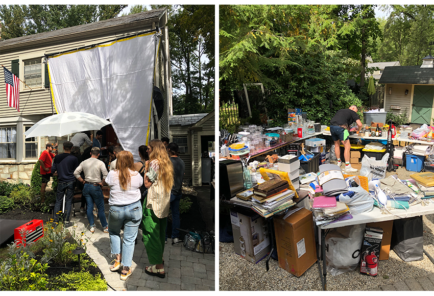 Crew on set and a prop stylist working among props.