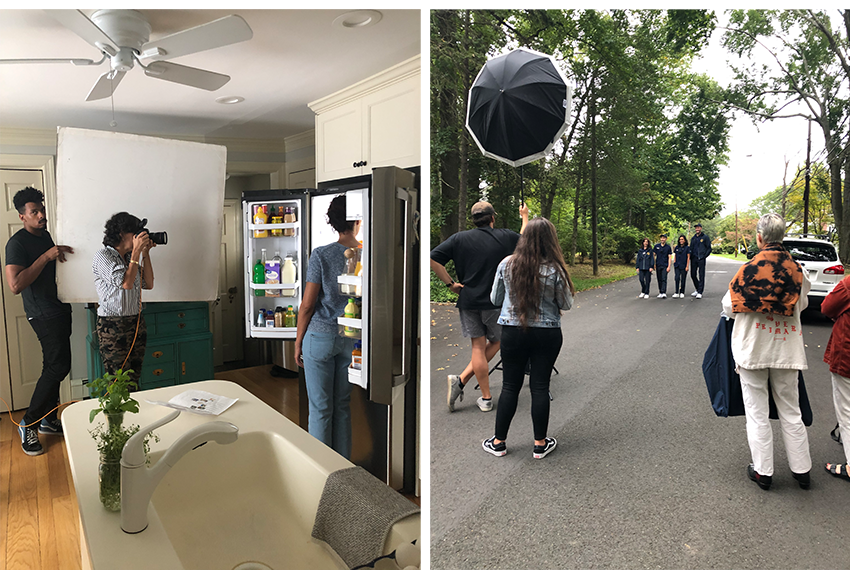 Behind the scenes showing two different set ups for shots.