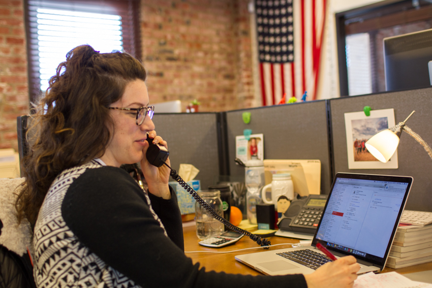 Wonderful Machine producer Julia Hanley making phone calls in March 2018