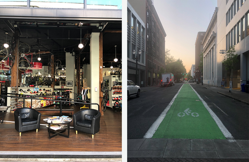 Portland's bicycle infrastructure: bike shop and bike lanes