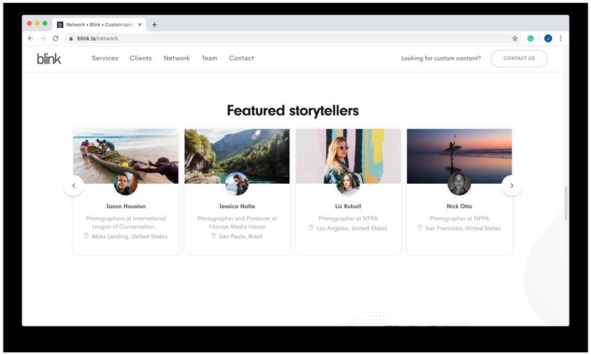 blink media featured storytellers screenshot from web