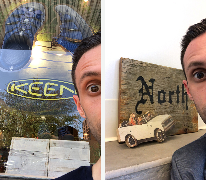 Craig Oppenheimer in front of the KEEN and North Agency buildings in Portland, Oregon.