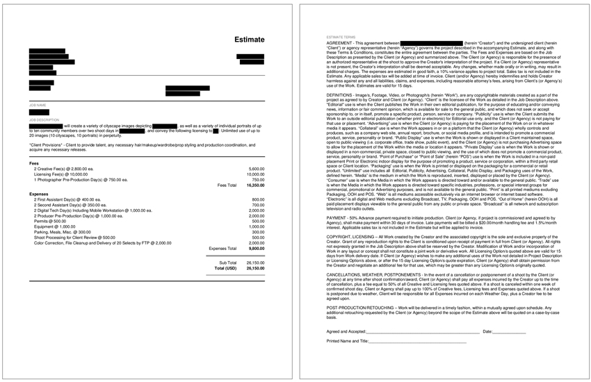image of redacted photographic bid for a case study in pricing and negotiating by Wonderful Machine Executive Producer Craig Oppenheimer