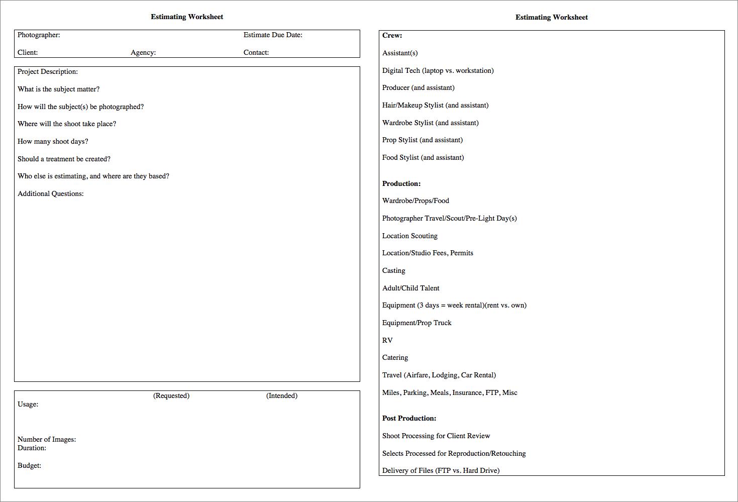 Estimate worksheet blank