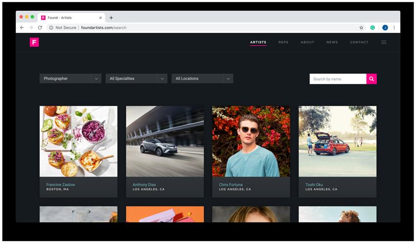 found artists website screenshot
