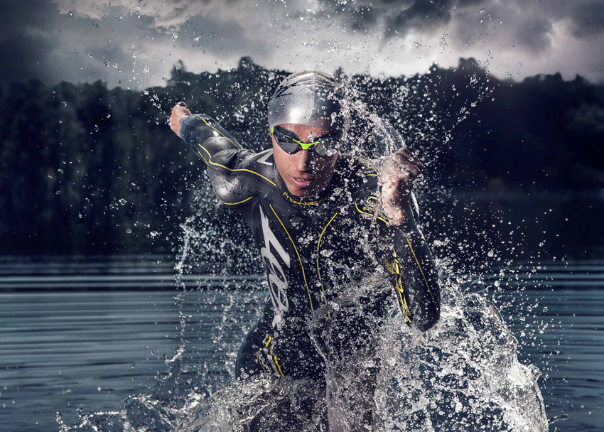 ASMP Awarded Triathlete exiting the water by Steve Greer
