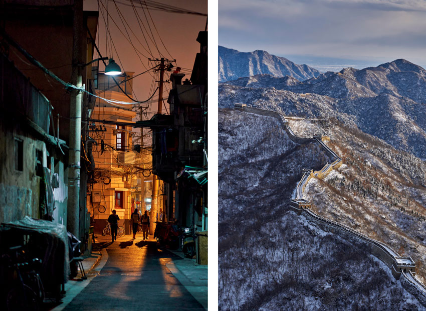 Jason Keen China trip diptych street and Great Wall
