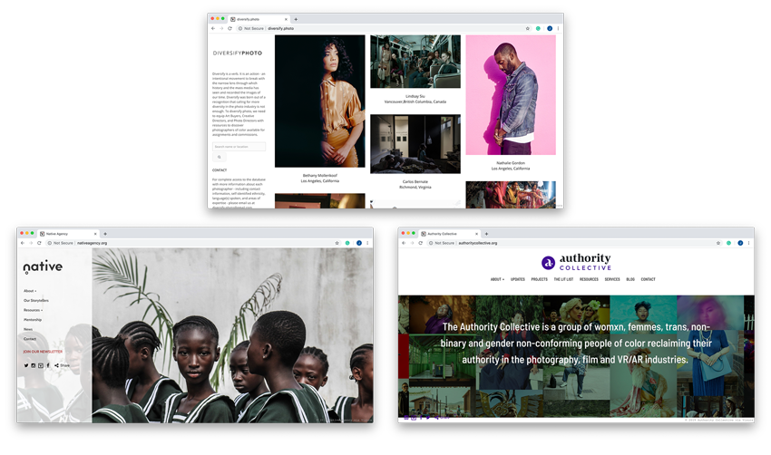 diversify.photo, native agency, and authority collective screenshots