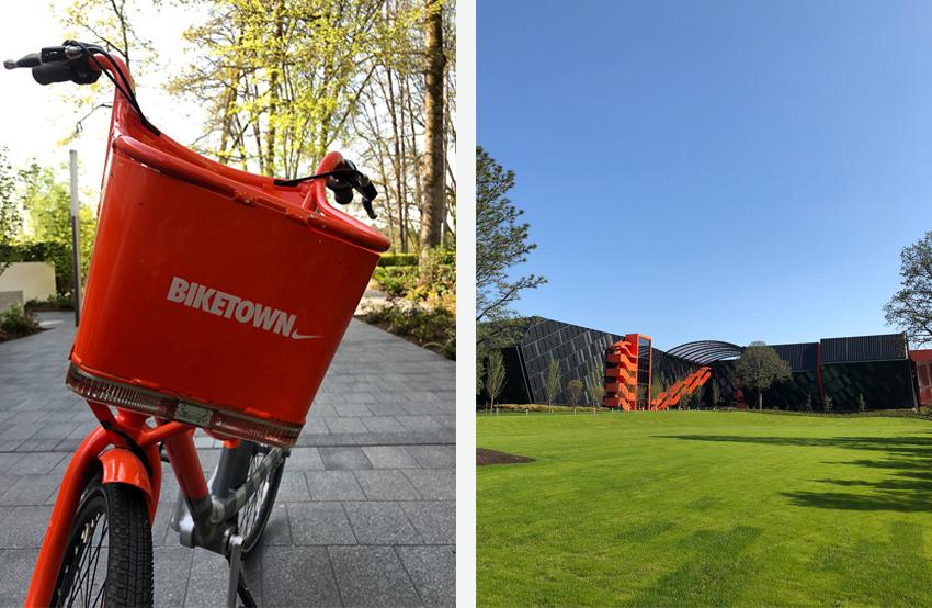 Nike's campus and an orange Nike-sponsored Biketown bike share bicycle.