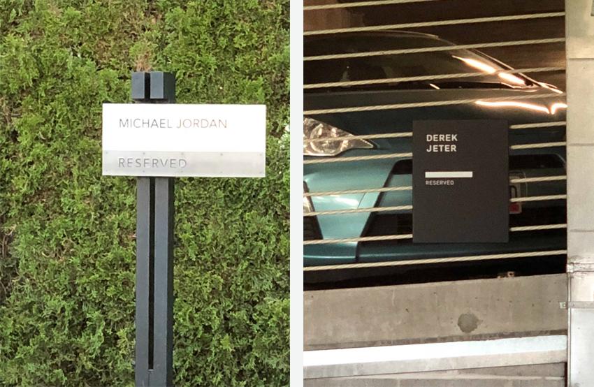 Parking spaces reserved for Derek Jeter and Michael Jordan at Nike's campus in Beaverton, Oregon.