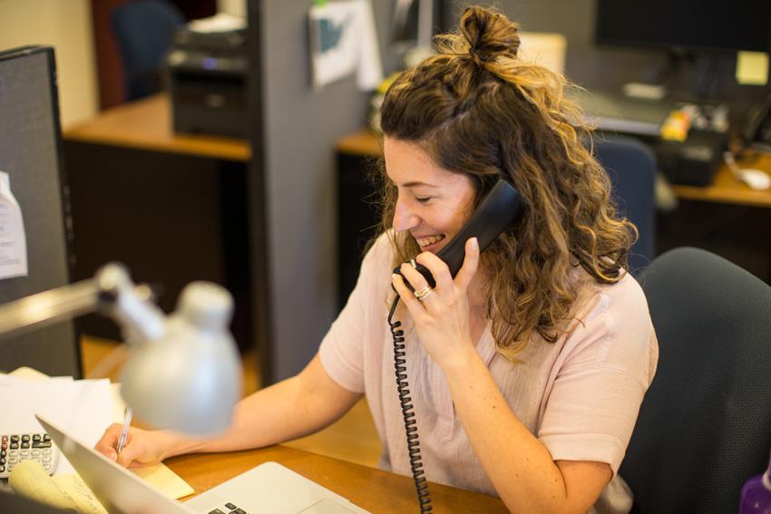 Producer Julia Hanley on a phone call