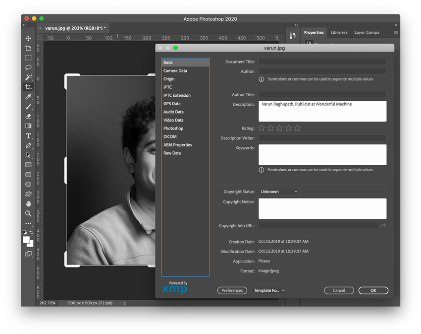 Screenshot of Photoshop adjusting the File Info for a picture of Varun