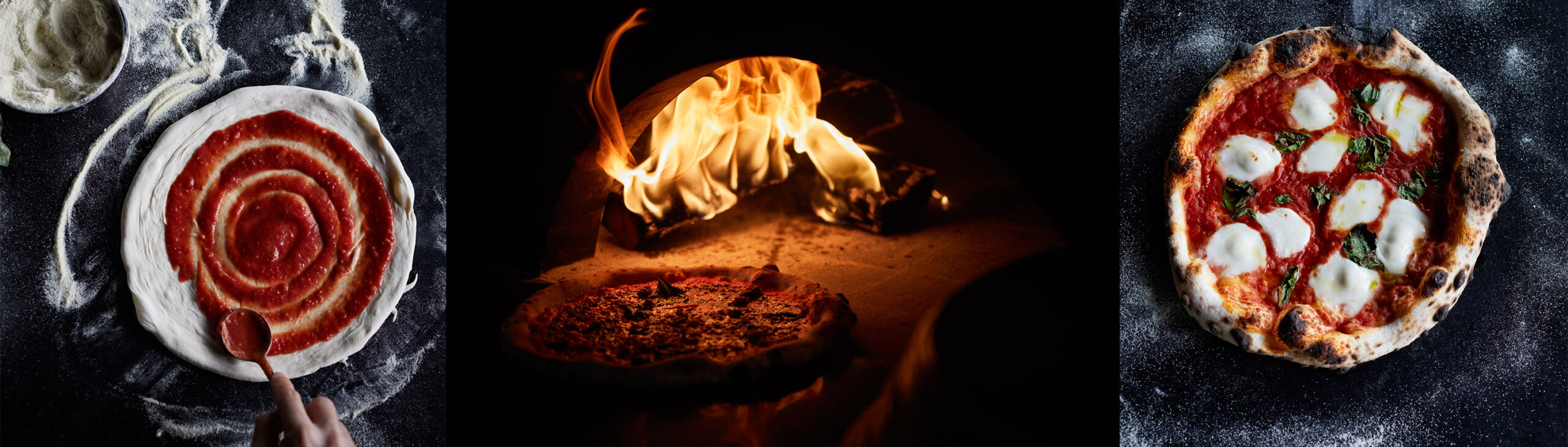 Jody Horton's photos of the process of pizza making: adding sauce, fire in the oven, finished product