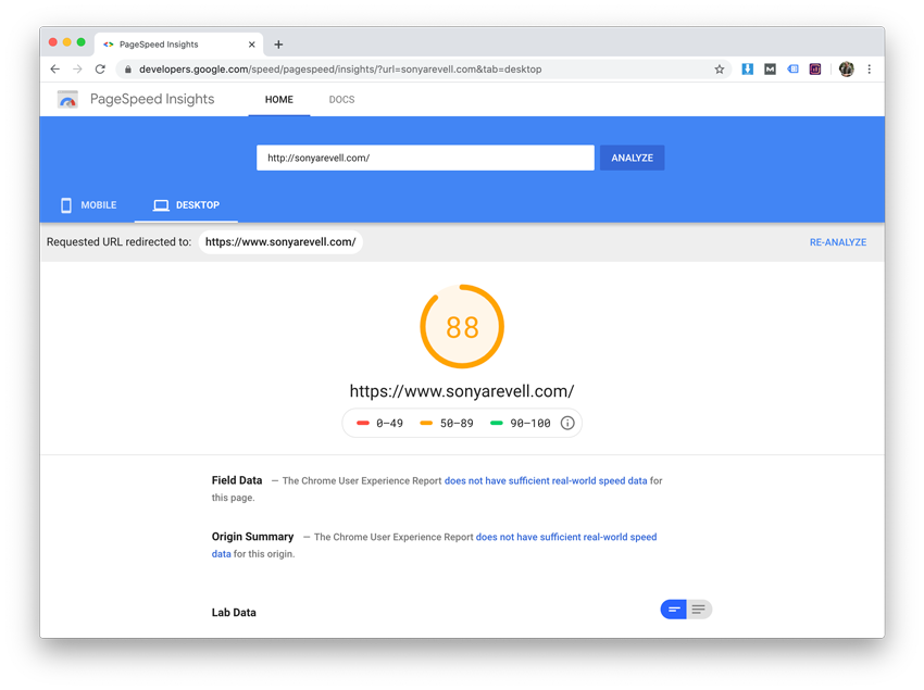 Google Page Speed Insights rating of Sonya Revell's site