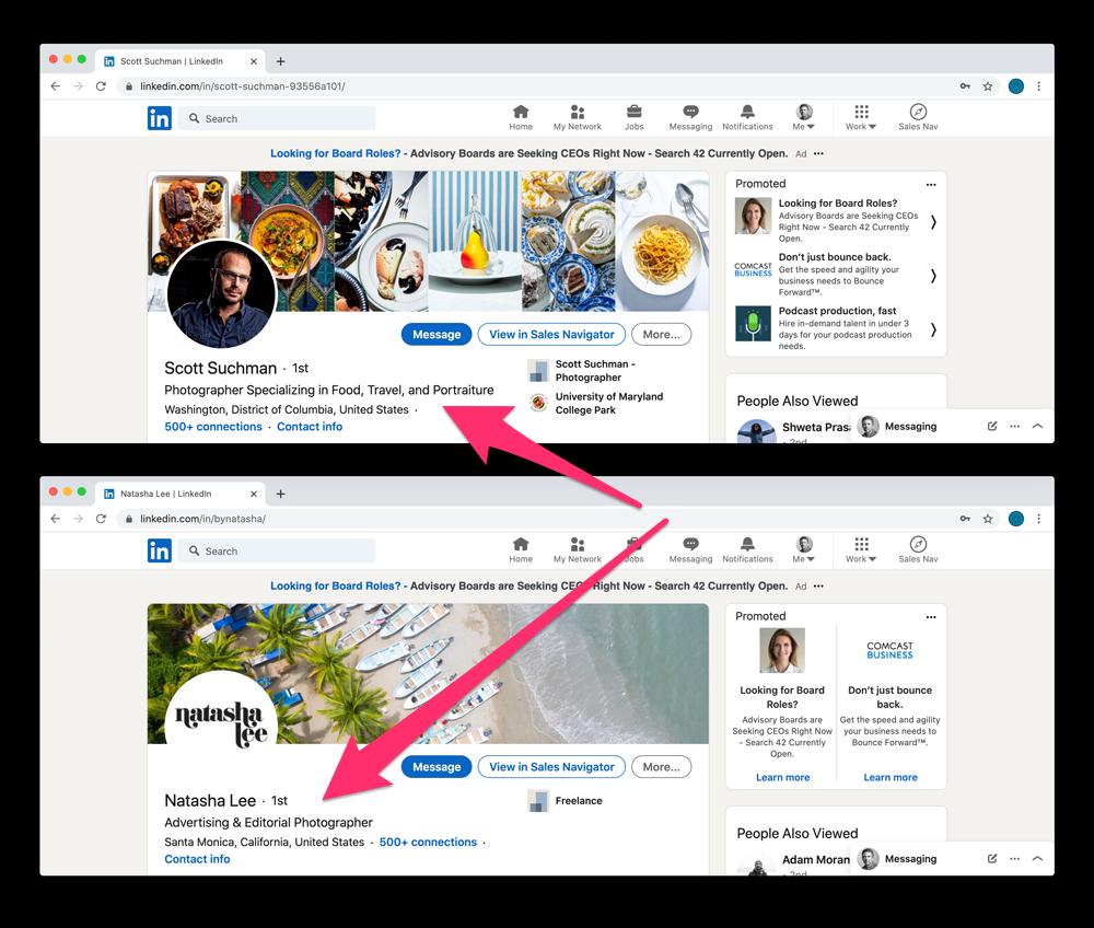 Examples of different LinkedIn headlines