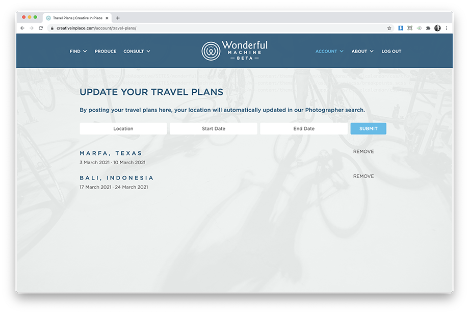 Wonderful Machine screenshot of a Photographers Travel Plans Page