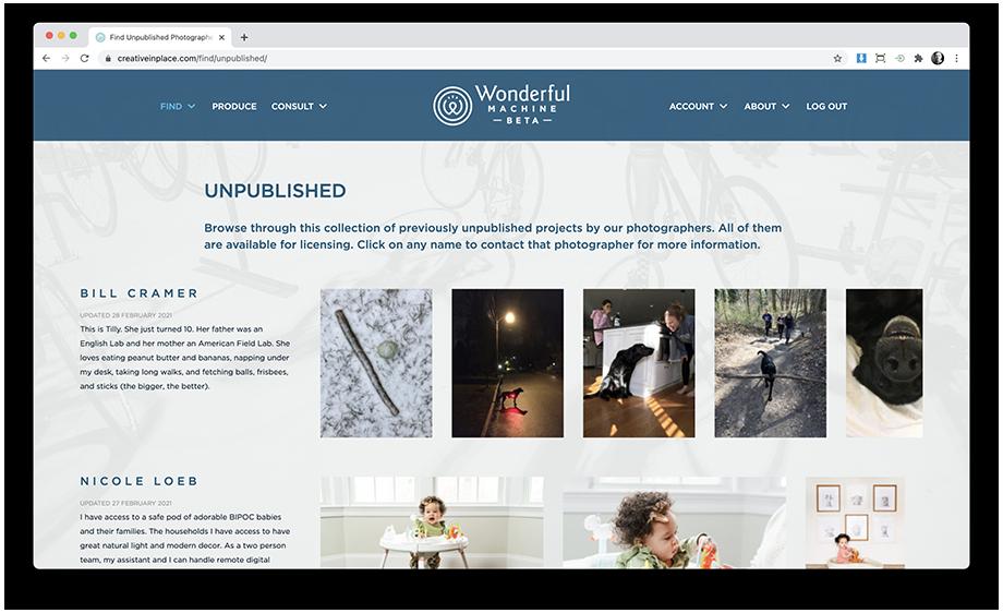 Wonderful Machine Screenshot of Unpublished Page
