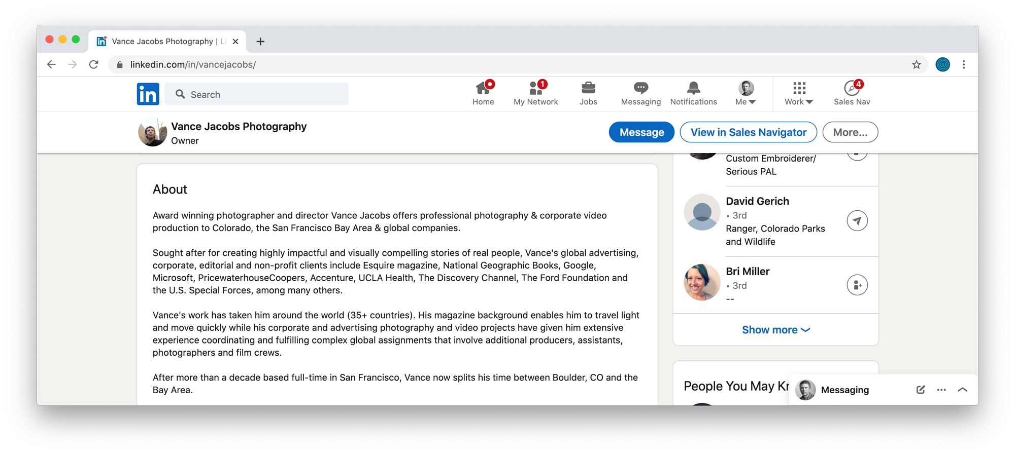 An example of a photographer's About Bio on LinkedIn
