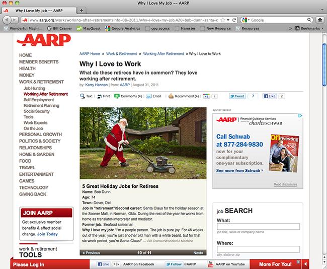 Screenshot of AARP website