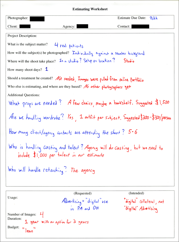 Example of a worksheet filled out page 1