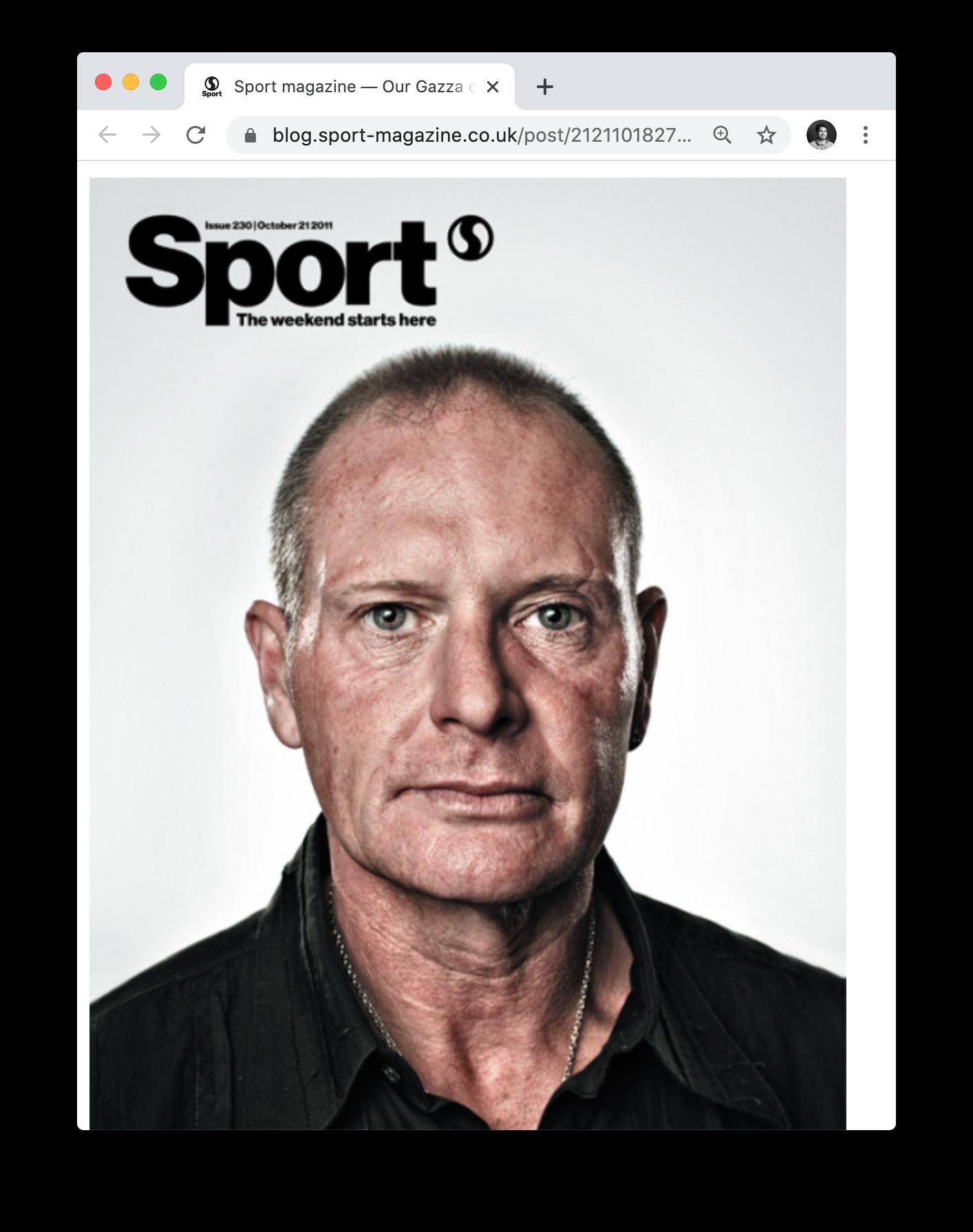 Jon Enoch's cover image of soccer player Paul Gascoigne for Sport Magazine