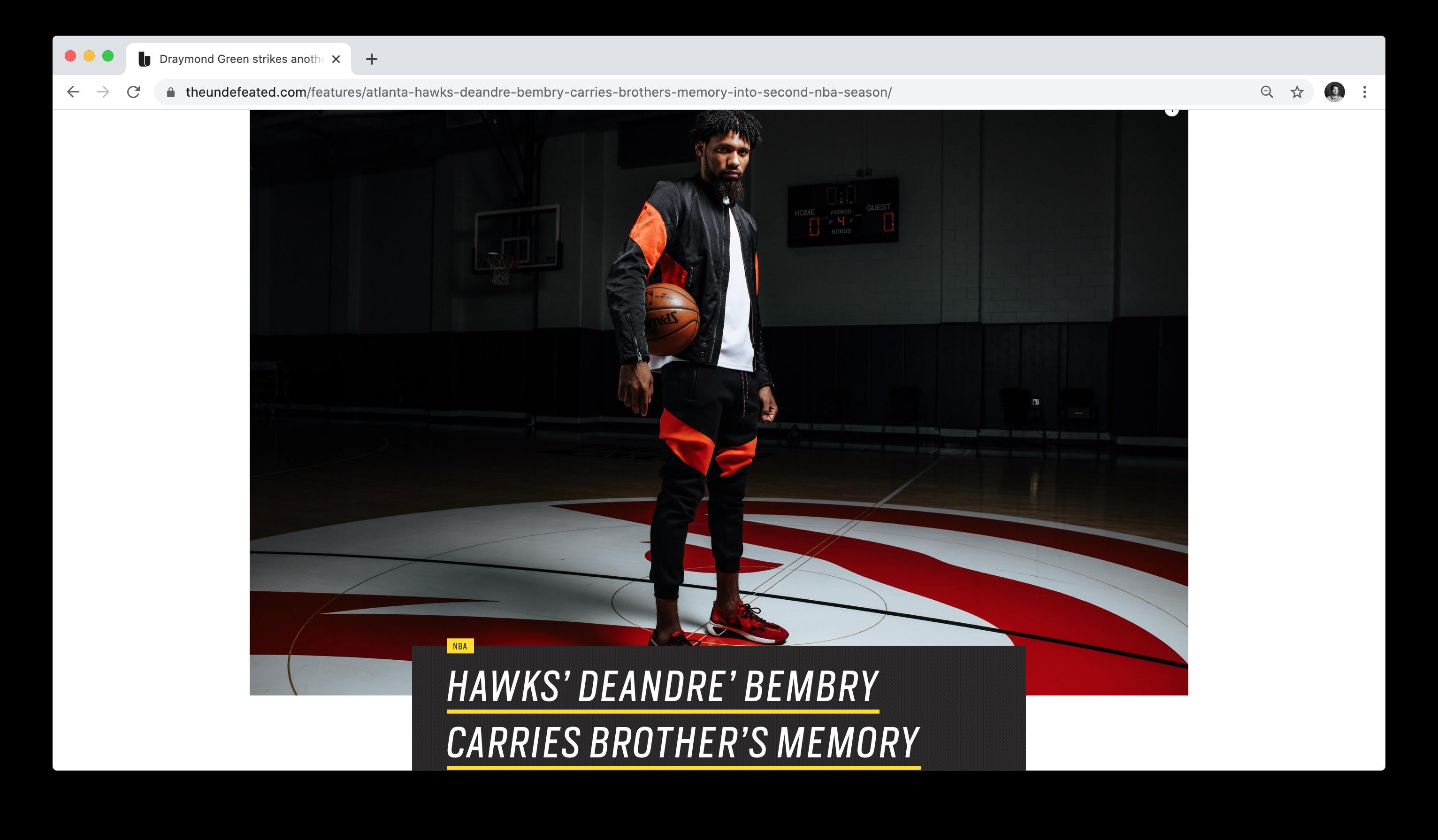Matt Odom photographs Deandre Bembry for ESPN's The Undefeated