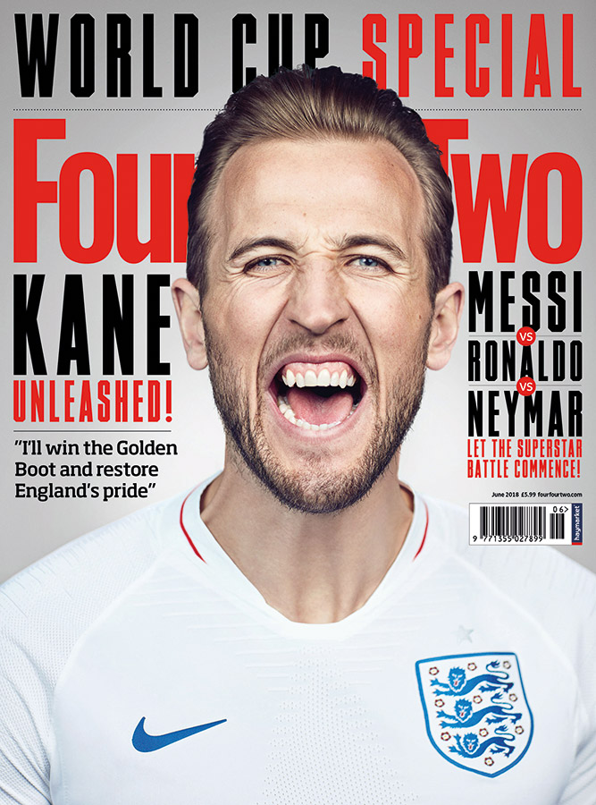 Soccer Player Harry Kane on the cover of FourFour Two Magazine photographed by Jon Enoch