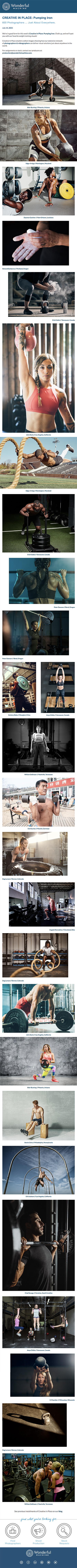 Wonderful Machine's July Creative In Place emailer campaign: Pumping Iron