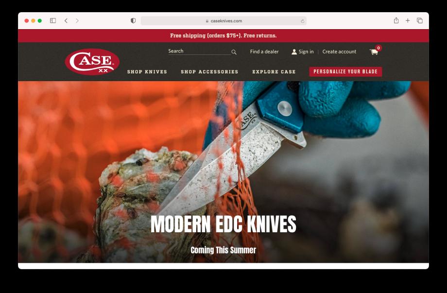 Screenshot of Case Knives homepage shot by Ed Sozhino